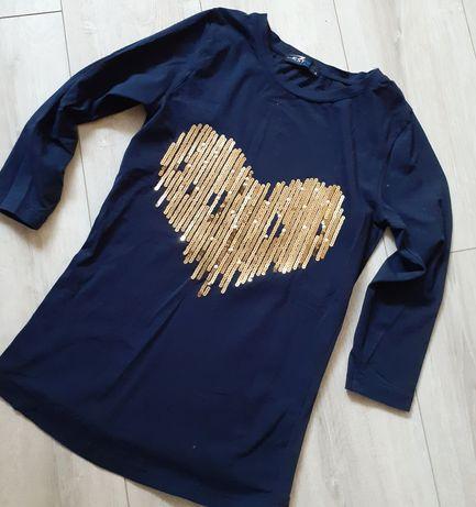 Granatowa bluzka złote serce r. S