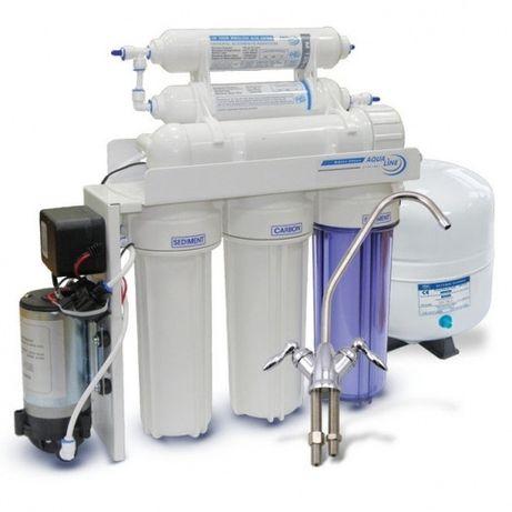 Фильтр обратного осмоса AquaLine RO-6 P насосом купить, фильтр для вод
