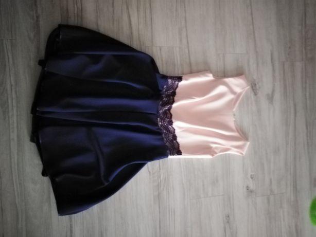Sukienka granatowo- różowa
