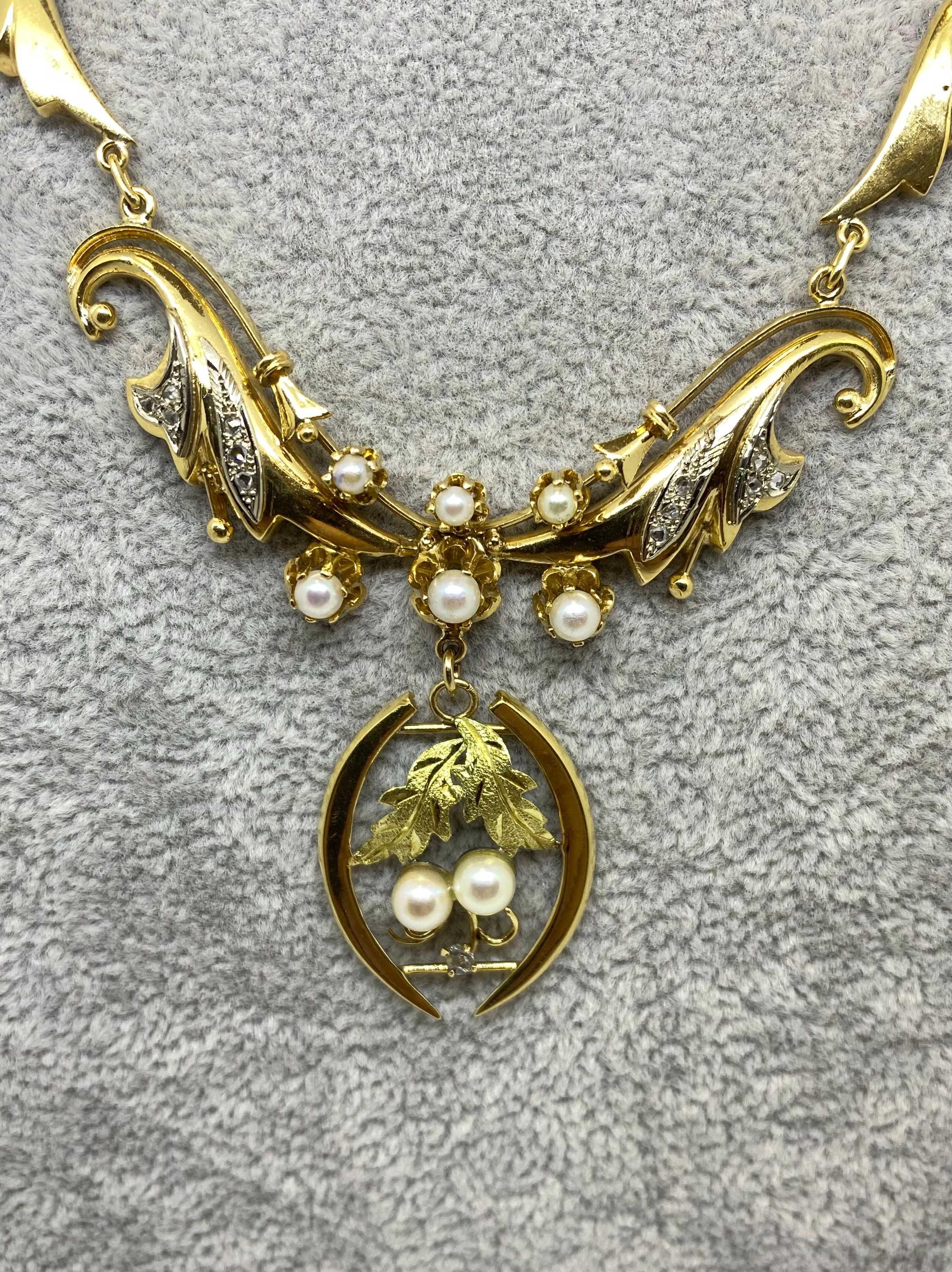 Złota kolia 18K z diamentami i perłami