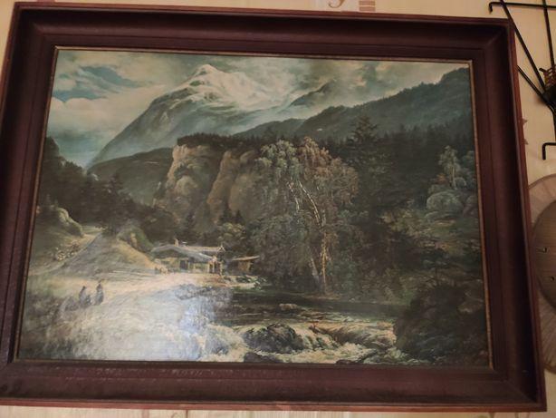 Stary obraz, drewniana rama