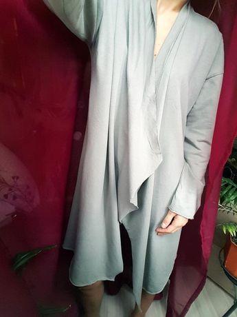 Распашной мужской кардиган мантия zara хаки с карманами