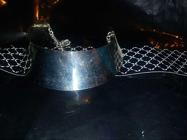 Metalowa OBRECZ na szyję Srebrna