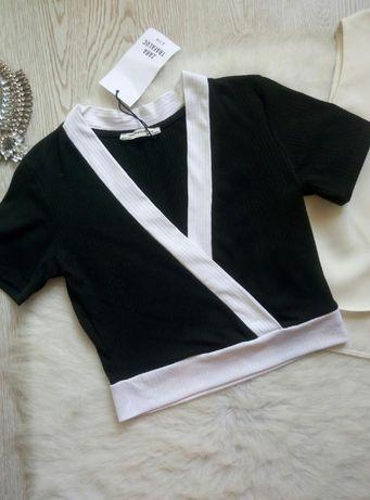 черный с белым кроп топ короткая футболка с вырезом рукавами Zara Зара