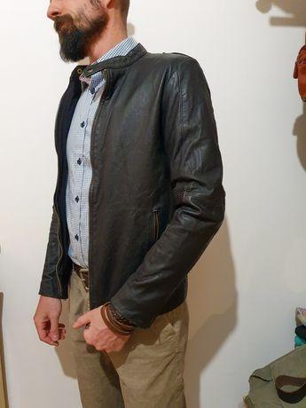 Jack jones кожа козы кожаная куртка кожанка косуха натуральная черная