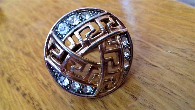 Srebrno-złoty okazały pierścień