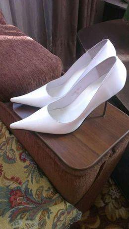 Туфли женские, белые, натуральная кожа