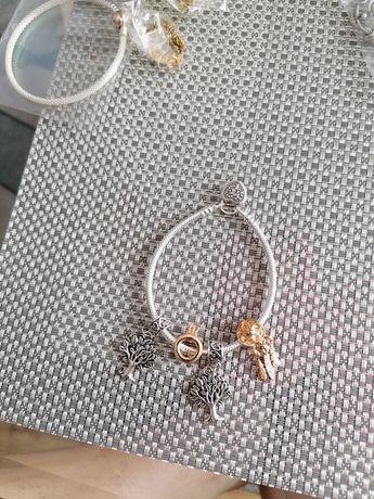 Bransoletka Pandora 19cm serce plus charmsy próba S925