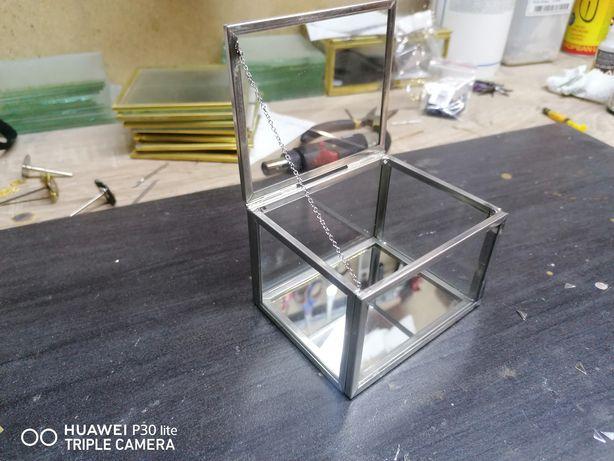 Pudełko szklane srebrne