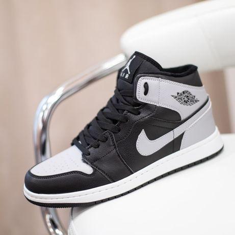 6137  Nike Air Jordan черные с серым зимние кроссовки мужские на меху