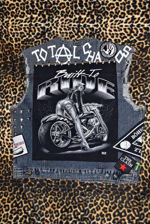 Kamizelka punk-rock, motocyklowa z ćwiekami