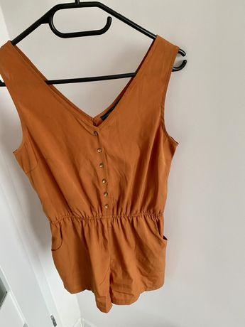 Kombinezon damski S guziki krótki letni pomarańczowy brązowy