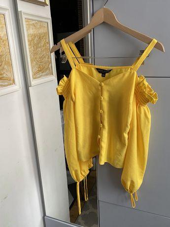Żółta bluzka hiszpanka guziki dorothy perkins xs 34 lato