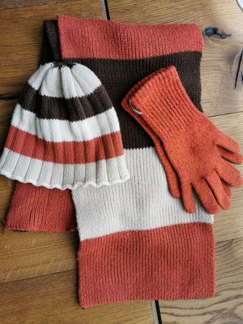 Komplet jesienny zimowy czapka szalik rękawiczki paski brąz beż rudy