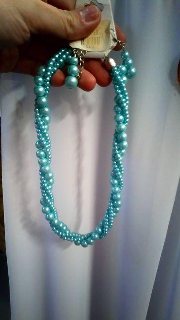 Komplet biżuterii niebieskie perełki naszyjnik plus kolczyki nowy ślub
