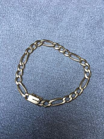 Złota bransoletka robiona ręcznie długość 24 cm splot Figaro
