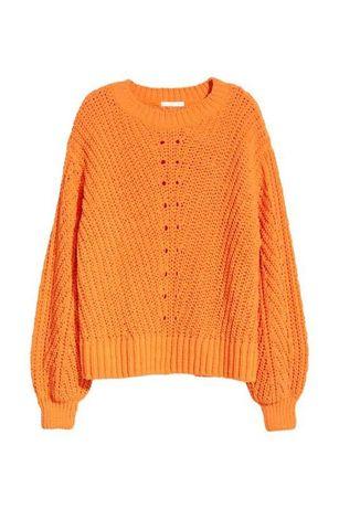 Sweter hm pomaranczowy moda damska hit blogerski
