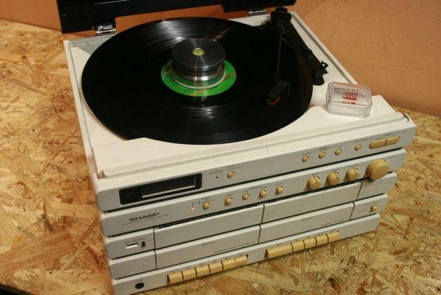 Super Biała Midi Wieża SHARP CMS-N45H/Gramofon/Deck/Radio/AUX Wysyłam!