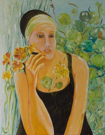 Obraz olejny - Kobieta w kwiatach 73x92 cm