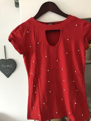 Bluzka z perełkami czerwona czarna