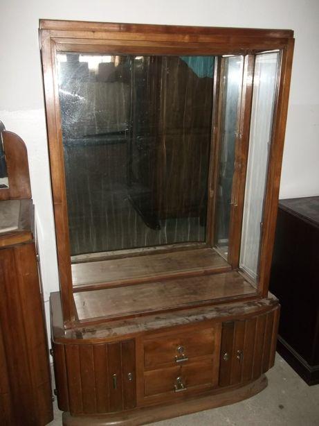 Louceiro vintage em vidro e madeira