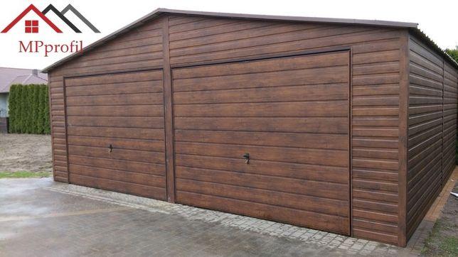 Garaż drewnopodobny 7x6 dwie bramy uchylne całość profil MPprofil