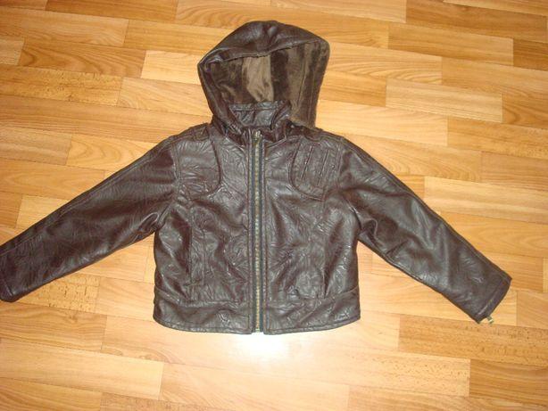 Детская кожаная куртка на меху р.98-110