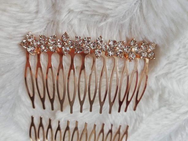 Spinka grzebień do włosów z cyrkoniami złota ozdoba Reserved