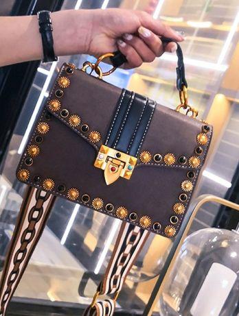 Nowa modna torebka crossbody listonoszka ciemny brąz