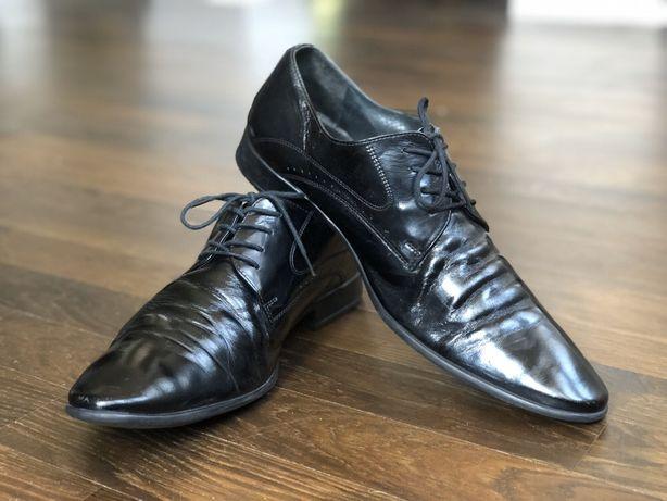 Buty męskie skórzane Ryłko naturalna skóra półbuty pantofle 44 30,5 cm