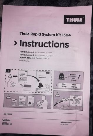 Thule rapid system kit 1304 Honda Accord