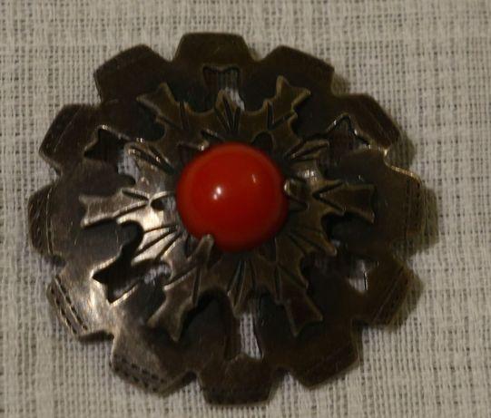 Broszka brosza srebrna srebro kwiat koral Imago Artis PRL unikat