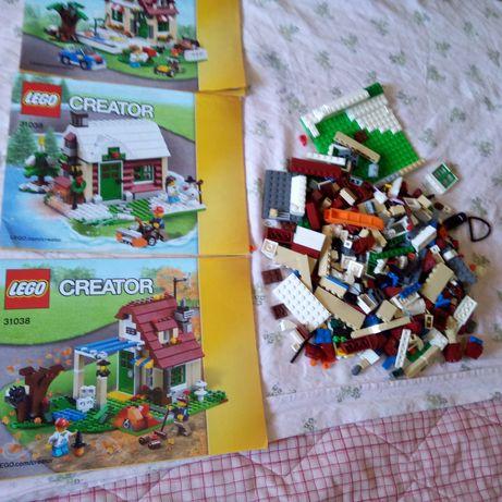 Conjunto de peças de lego e livros