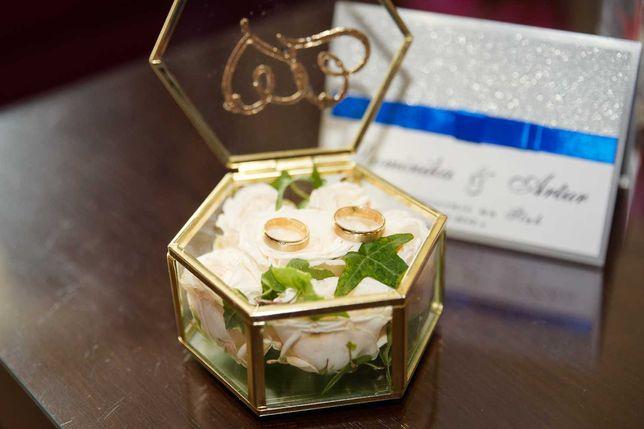 Szkatułka na obrączki, biżuterię, złota z lustrzanym dnem ! Cudo!