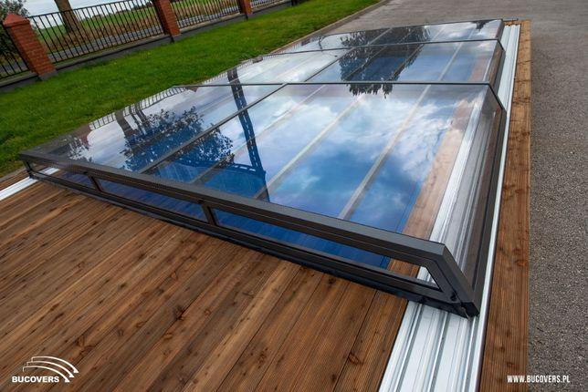 Niskie zadaszenie basenowe,basenu, pokrycie basenów z montażem Bucover