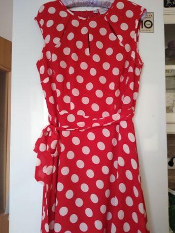 Sukienka w groszki czerwono-biala Bonprix