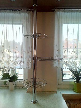 Chromowe kosze obrotowe z rurą do kuchni