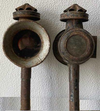 Lanternas para charrete, muito antigas  (Par) + óculo traseiro