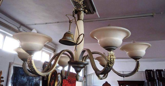 Candeeiro Tecto Bronze Alabastro 6 Lâmpadas