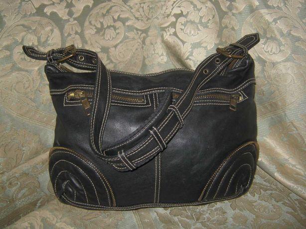 Черная кожаная сумка женская натуральная кожа