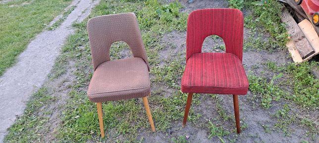 Retro fotel krzesło muszelka PRL cena za zestaw