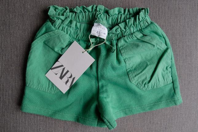 Dziewczęce krótkie spodenki Zara r.98 (2-3lata)