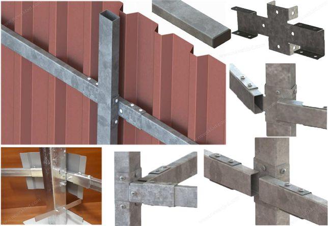 Каркас для паркану металевий, х-кронштейн, комплектуючі для паркану