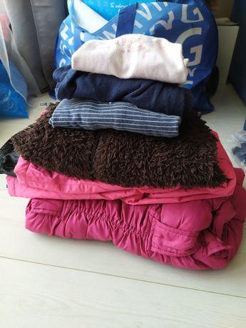 Zestaw ubrań rozm. 128 (spodnie na śnieg, kurtka, piżama, bluza mis)