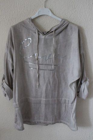 bęzowa bawełniana bluzka z kapturem