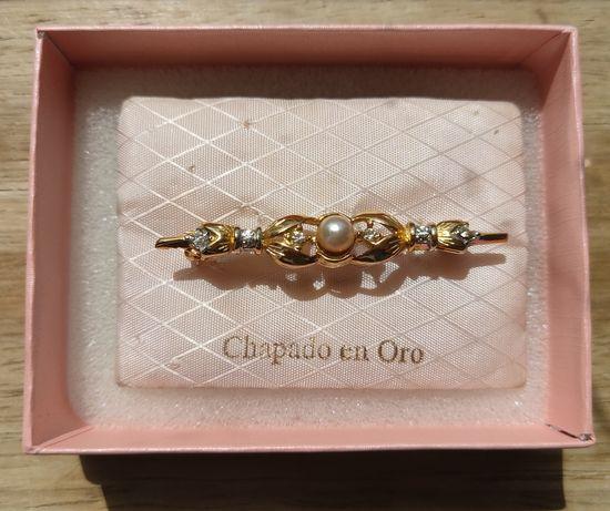 Alfinete Vintage Banhado a Ouro 18k