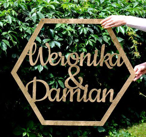 Imiona w heksagonie na ściankę ślub wesele