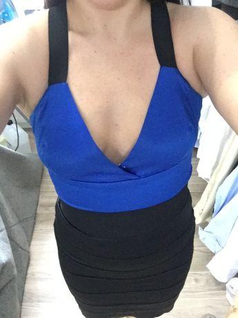 Sukienka czarno-niebieska M - wesele, studniówka, sylwester