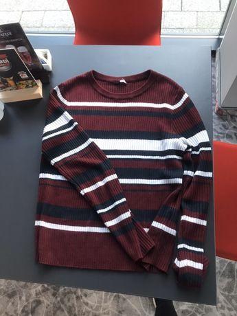 Bordowy sweter z długim rękawem sweterek w paski bluzka S M