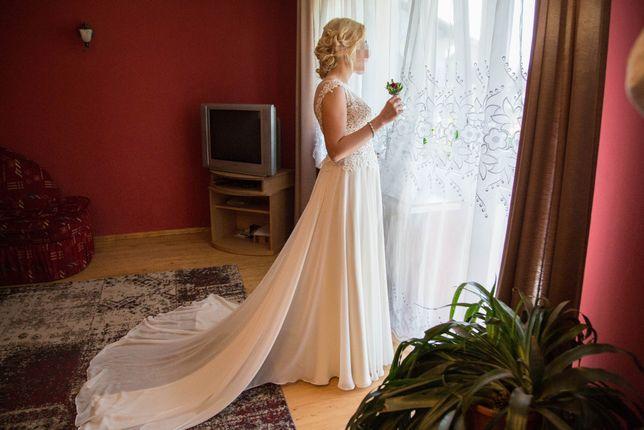 Suknia Ślubna z trenem kolor IVORY rozmiar 34-36